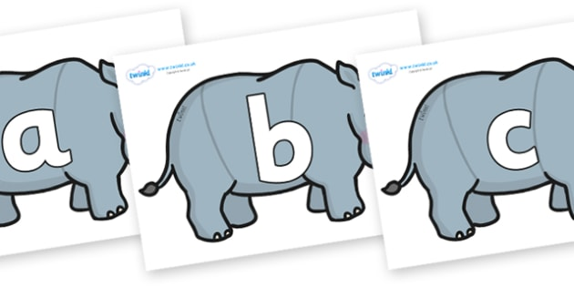 Phoneme Set on Rhinos - Phoneme set, phonemes, phoneme, Letters and Sounds, DfES, display, Phase 1, Phase 2, Phase 3, Phase 5, Foundation, Literacy