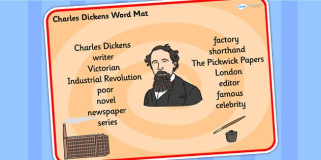 Charles Dickens Word Mat - charles dickens, word mat, topic words, topic mat, themed word mat, writing aid, mat of words, key words, keywords, key word mat
