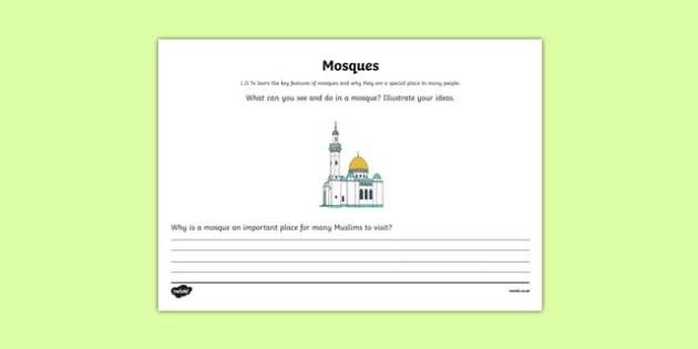 Islam Mosque Mind Map Activity Sheet - islam, mosque, mind map, activity, worksheet
