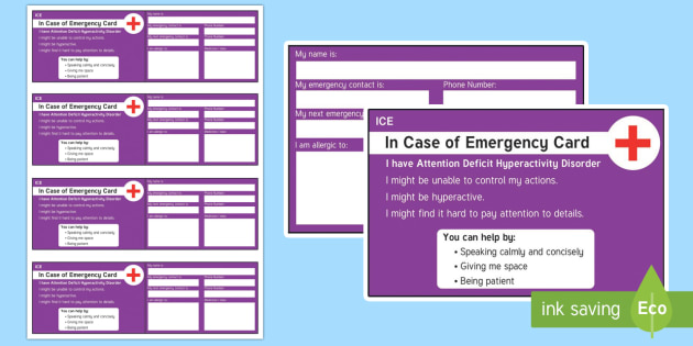 In Case of Emergency ADHD Information Cards - ICE, in case of emergency, out and about, independence, ADHD, ADD, wallet, card, safety