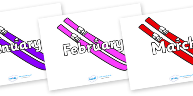 Months of the Year on Skis - Months of the Year, Months poster, Months display, display, poster, frieze, Months, month, January, February, March, April, May, June, July, August, September