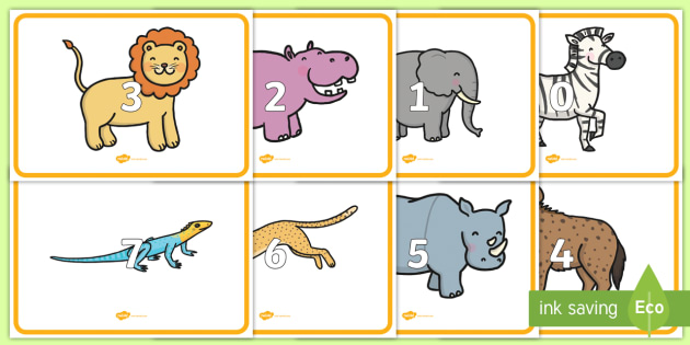 0 to 10 Display Numbers on Safari Animals - safari, on safari, safari animals, numbers on safari animals, safari animal numbers 0-10 on safari animals