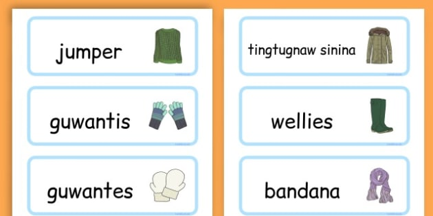 Winter Clothes Word Cards - winter clothes, word cards, winter, clothes - Cebuano