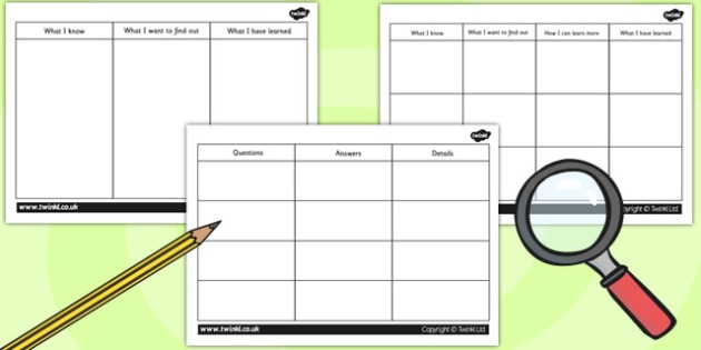 Science Investigation Finding Information Templates - science