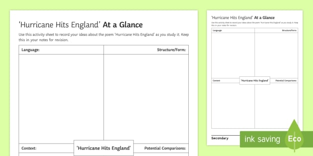 Hurricane Hits England At A Glance Activity Sheet - GCSE English Literature, Time and Place Cluster, Edexcel Poetry, Anthology, Worksheet