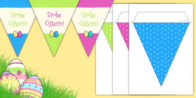 Easter Party Happy Easter Bunting German - german, de, deutsch, germany, easter, ostern, celebration, festival, bunting, ammer