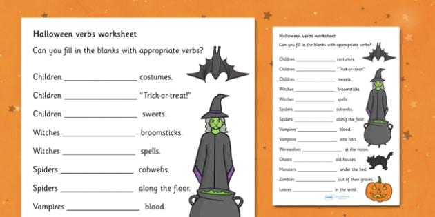 Halloween Verbs Activity Sheets- Halloween Verbs Worksheets, verbs, verb, worksheet, sheets, Halloween, pumpkin, witch, bat, scary, black cat, mummy, grave stone, cauldron, broomstick, haunted house, potion, Hallowe'en