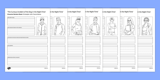 The Curious Incident of the Dog in the Night-Time Character Revision Sheets - Curious Incident of the Dog in the Night-time, Play, drama, GCSE, AQA, exam, modern drama, display