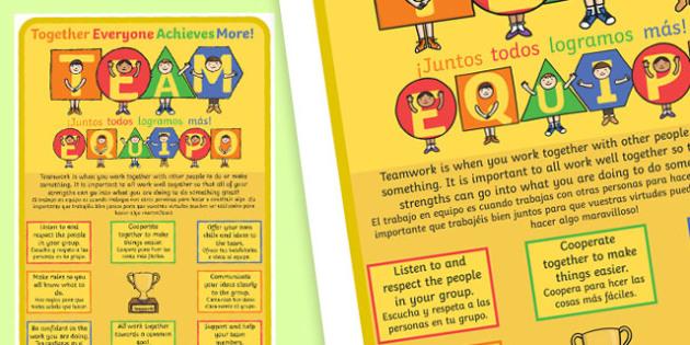 TEAM Large Motivational Poster KS2 Spanish - translation