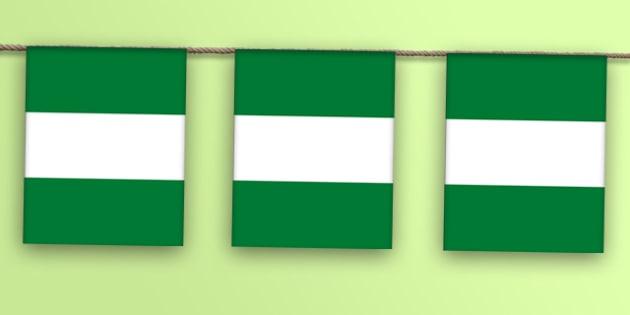 Nigeria Flag Display Bunting - countries, geography, display