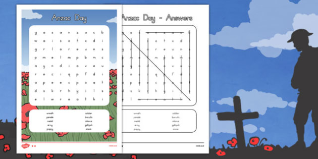 Anzac Day Wordsearch - anzac day, anzac, word search, word game