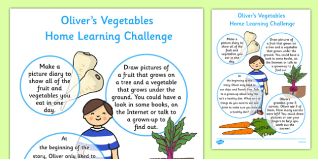 Home Learning Challenge to Support Teaching on Oliver's Vegetables Sheet Nursery FS1