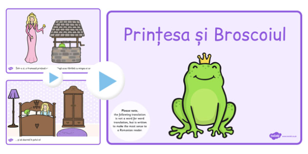 Printesa si broscoiul, poveste, imagini, powerpoint, print, Romanian