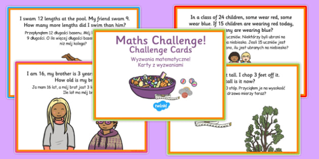 KS1 Subtraction Challenge Cards Polish Translation - polish, ks1, subtraction, challenge, cards