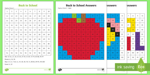 Back to School Color by Number 100s Chart Activity Sheets - Back to School, worksheet, activity sheet, maths, start of the year, first day, color by number, 10
