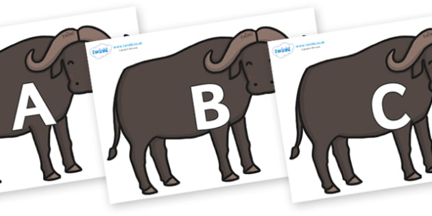 A-Z Alphabet on Buffalos - A-Z, A4, display, Alphabet frieze, Display letters, Letter posters, A-Z letters, Alphabet flashcards