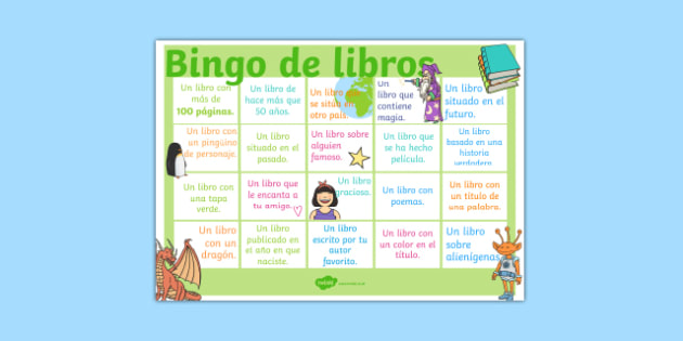 Bingo de libros - spanish, reading, literacy, game, library, ks2, display, classroom, english
