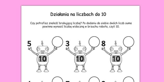Arkusz Liczby na robotach dodawanie 1-10 po polsku