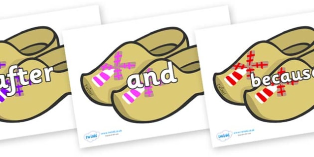 Connectives on Wooden Shoes - Connectives, VCOP, connective resources, connectives display words, connective displays