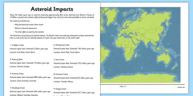 Asteroid Impacts Map Activity Sheet Pack - asteroid, space, impact, crater, worksheet