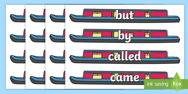 100 High Frequency Words on Narrow Boats - High frequency words, hfw, DfES Letters and Sounds, Letters and Sounds, display words