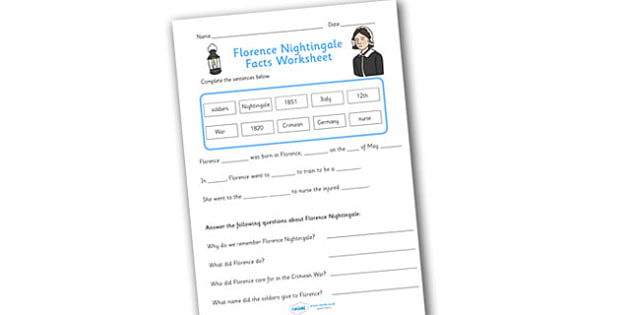Florence Nightingale Fact Worksheet - florence nightingale, florence nightingale worksheet, florence nightingale complete the sentences worksheet