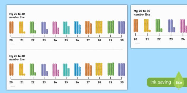Number Line 20-30 with Dienes - number line, numberline, 20-30, dienes, maths, numeracy, mathematics, numbers
