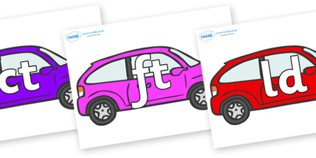 Final Letter Blends on Cars - Final Letters, final letter, letter blend, letter blends, consonant, consonants, digraph, trigraph, literacy, alphabet, letters, foundation stage literacy
