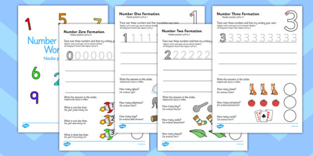 Number Formation Workbook Polish Translation - maths, numeracy, writing, fine motor skills, pd, KS1, key stage 1, early years, overwriting
