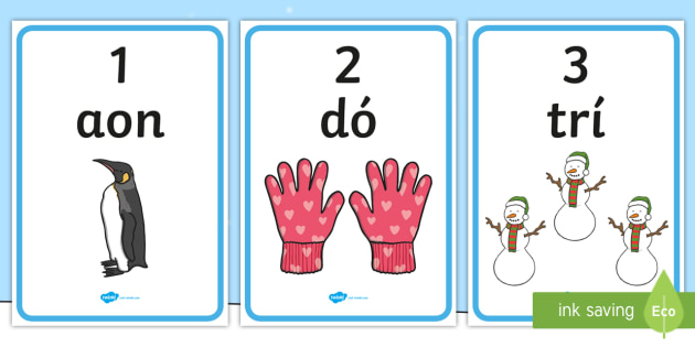 An Geimhreadh 1-10 Display Numbers - ROI - An Geimhreadh, winter, irish, gaeilge, numbers, counting, 1-10, maths display, Irish
