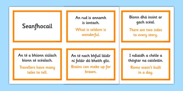 Irish Gaeilge Seanfhocail with Translations Display Cards - Irish, Gaeilge, proverbs, seanfhocail, display, posters, cards, English translations