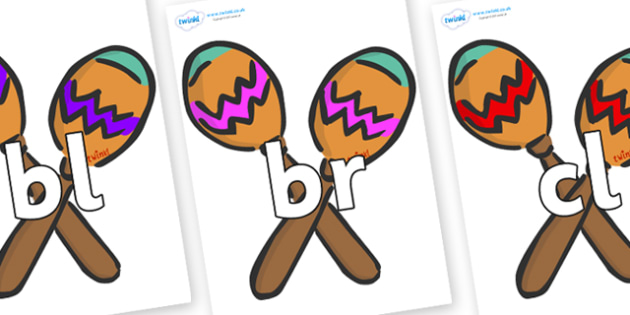 Initial Letter Blends on Maracas - Initial Letters, initial letter, letter blend, letter blends, consonant, consonants, digraph, trigraph, literacy, alphabet, letters, foundation stage literacy
