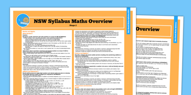 NSW Stage 2 Maths Syllabus Overview - australia, syllabus, nsw