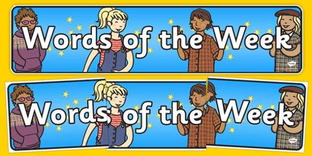 Word of the Week Display Banner - word, week, display banner, display, banner