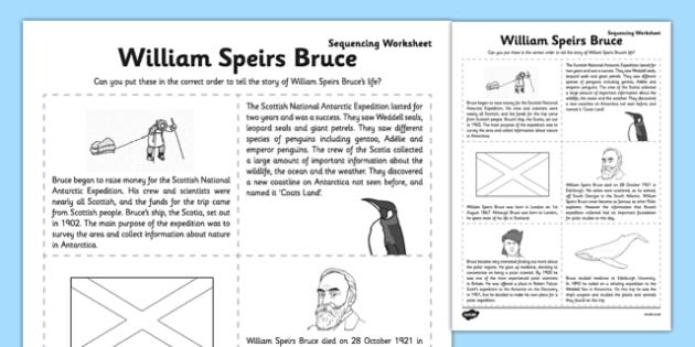 William Speirs Sequencing Worksheet - william speirs bruce, sequencing, worksheet