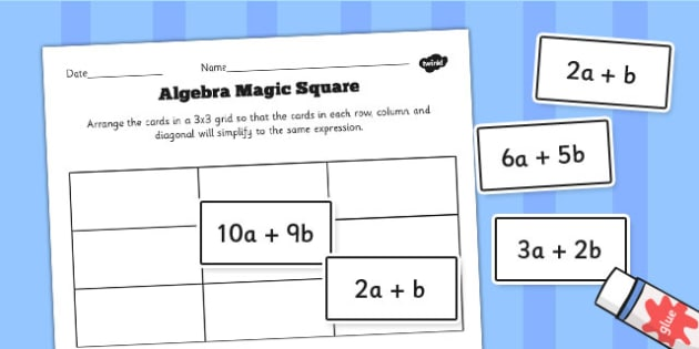 Algebra Magic Square Cut and Stick Activity Sheet - algebra, magic, square, maths, numbers, worksheet
