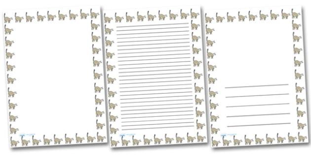 Lemur Portrait Page Borders- Portrait Page Borders - Page border, border, writing template, writing aid, writing frame, a4 border, template, templates, landscape