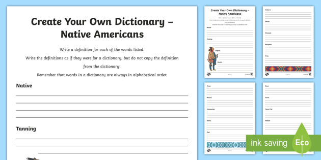 Native Americans Key Vocabulary Create Your Own Dictionary-Scottish - Native Americans, reading, writing, definitions, reading for information, creating texts, dictionary
