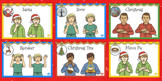 A4 British Sign Language Christmas Sign Display Poster Pack