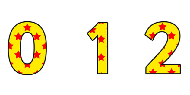 Yellow and Red Stars Display Numbers - Yellow and Red Stars, Stars Display Numbers, display numbers, numbers on stars