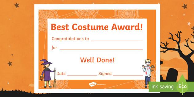 Best Costume Award Halloween Certificate