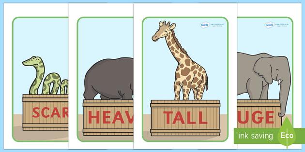 Zoo Animals Adjectives Display Posters - zoo, animals, animal, adjectives, adjective, display, poster, sign, tall, huge, heavy, angry, small, giraffe, elephant, lion, monkey