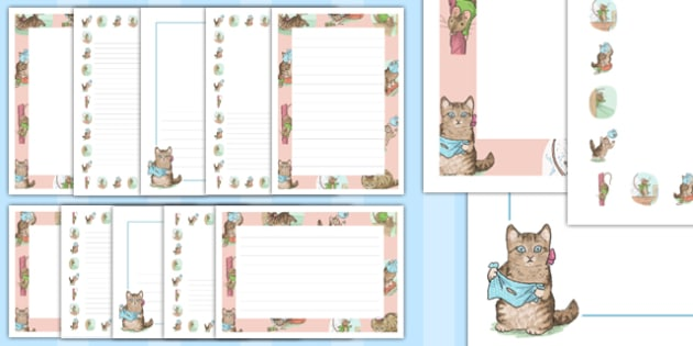 The Story of Miss Moppet Page Borders - Beatrix Potter, traditional tale, english, book, writing, story, listening, display, showcase, best, ks1, key stage, early years, template, pictures, illustrated