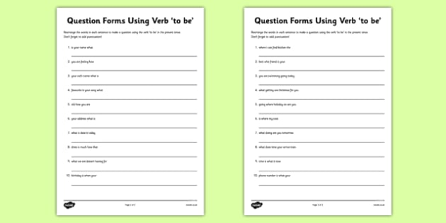 Question Forms Using Verb to be Worksheet - worksheet, verb, form
