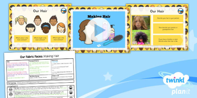 D&T: Our Fabric Faces: Making Hair KS1 Lesson Pack 2