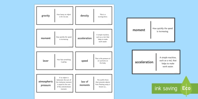 Speed Patience Glossary Activity - Glossary, speed, density, gravity, acceleration