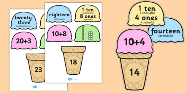 Place Value Ice Cream Cone Matching Activity Tens and Ones Polish Translation - polish, place value, ice cream cone