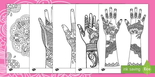 Mehndi Pattern Colouring Pages - henna, tattoo, Eid, Muslim, Hindu,