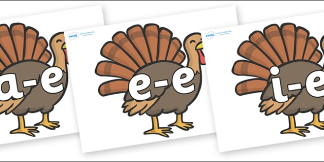 Modifying E Letters on Turkeys - Modifying E, letters, modify, Phase 5, Phase five, alternative spellings for phonemes, DfES letters and Sounds