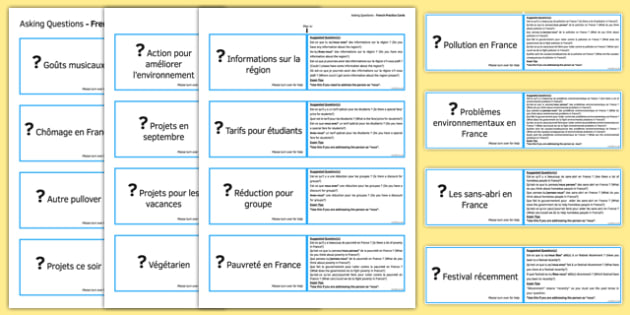 GCSE French Asking Questions Practice Cards Higher - french, Asking, ask, questions, cards, cartes, speaking